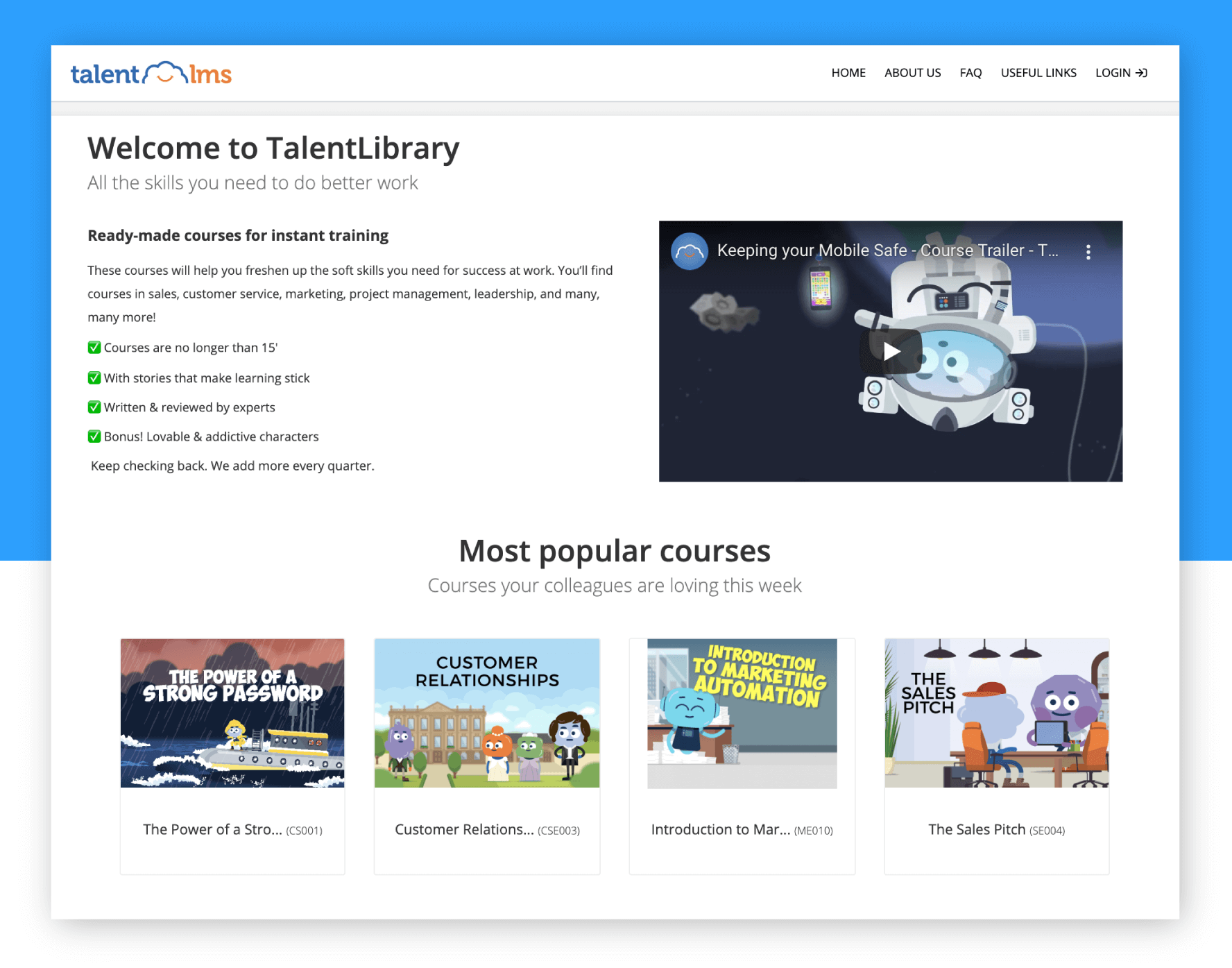 Example of a custom homepage at TalentLMS