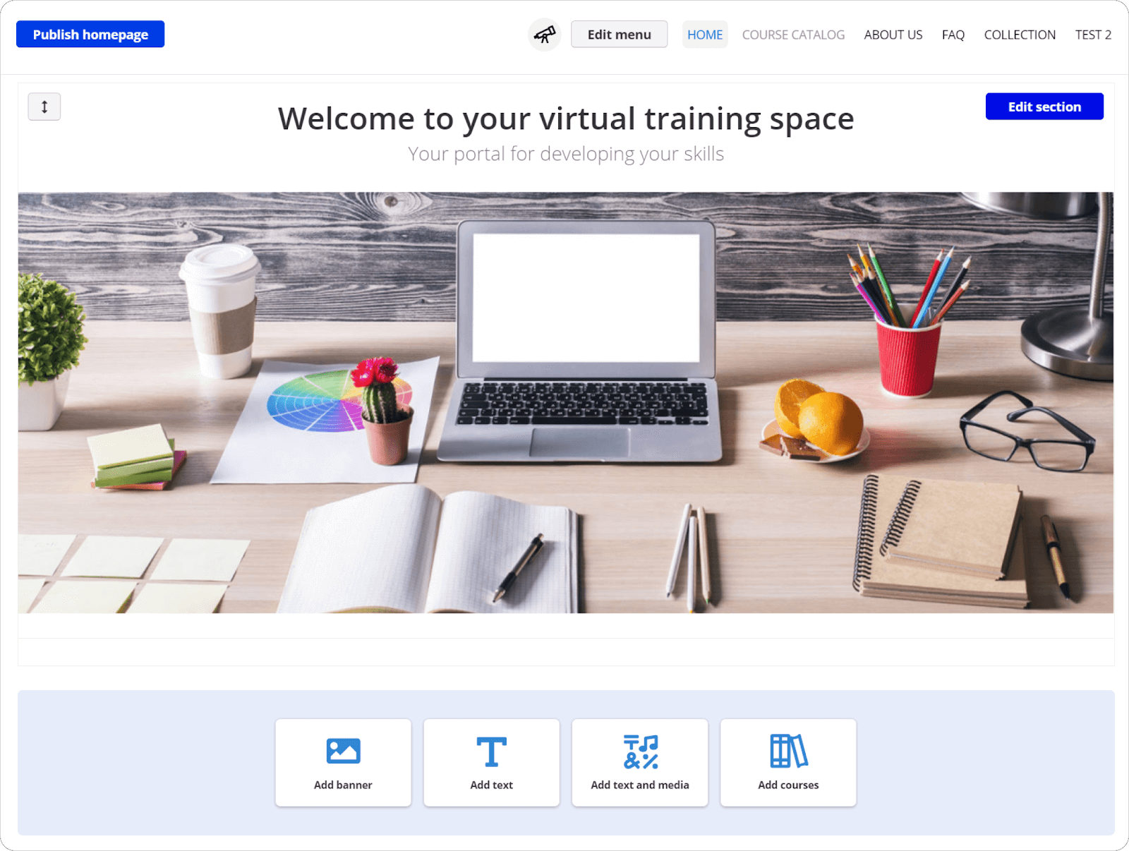 TalentLMS custom homepage: building your homepage