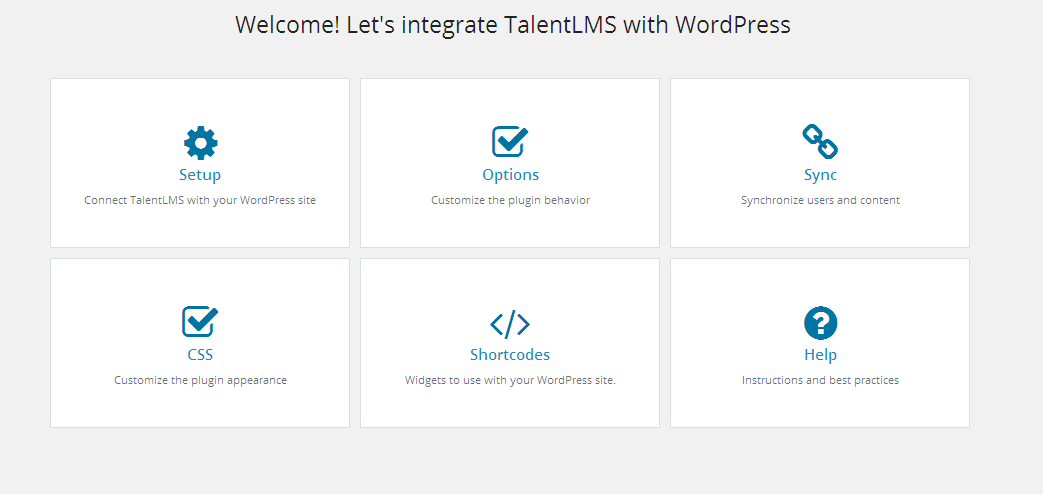 TalentLMS WP plugin Dashboard
