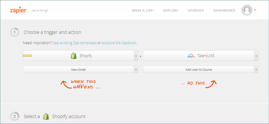 Zapier trigger: shopify and talentlms integration - step 3