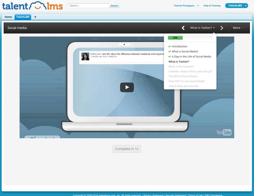 Salesforce and TalentLMS integration screenshot