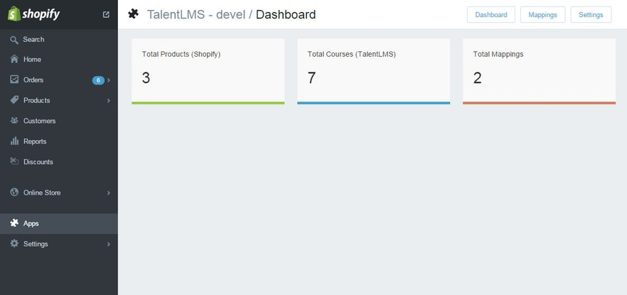talentlms shopify integration dashboard