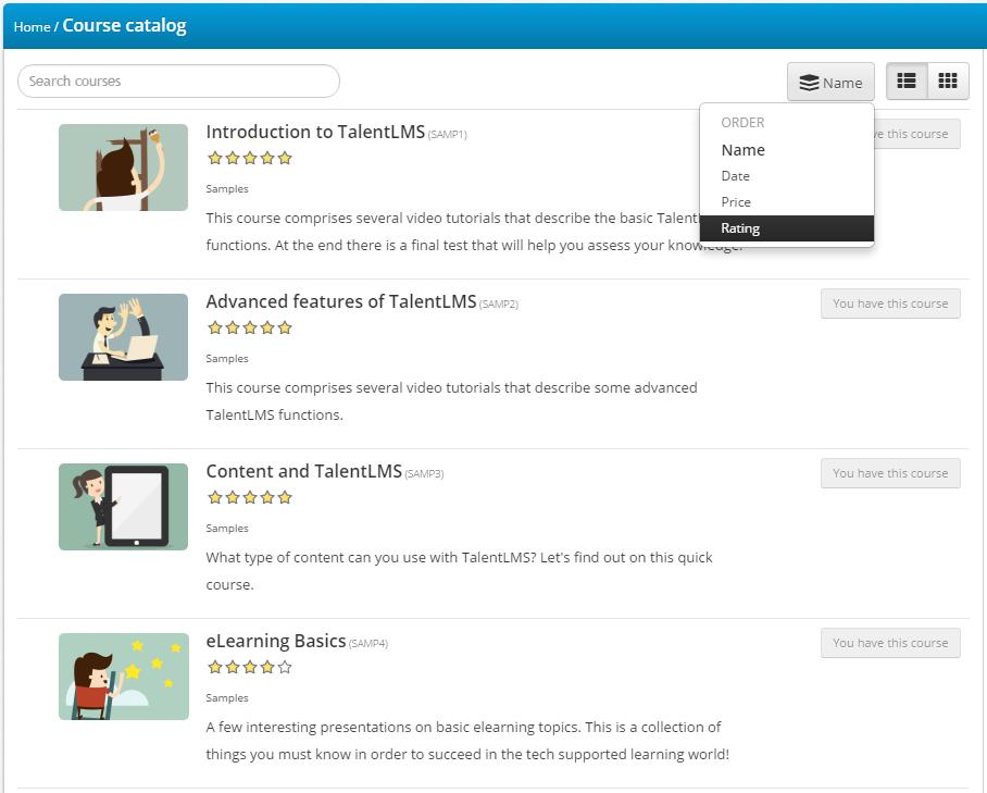Course rating feature in TalentLMS