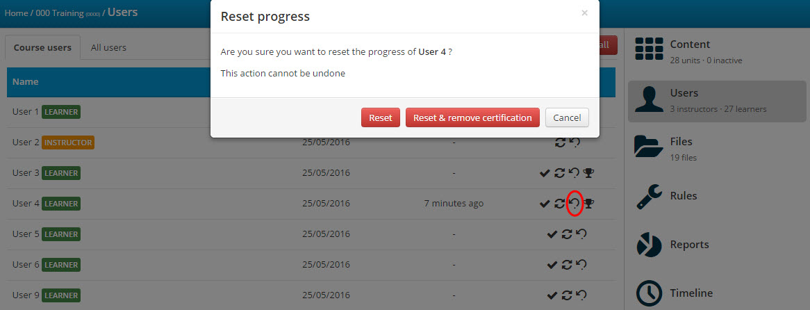 How to manually revoke a user's certificate in TalentLMS