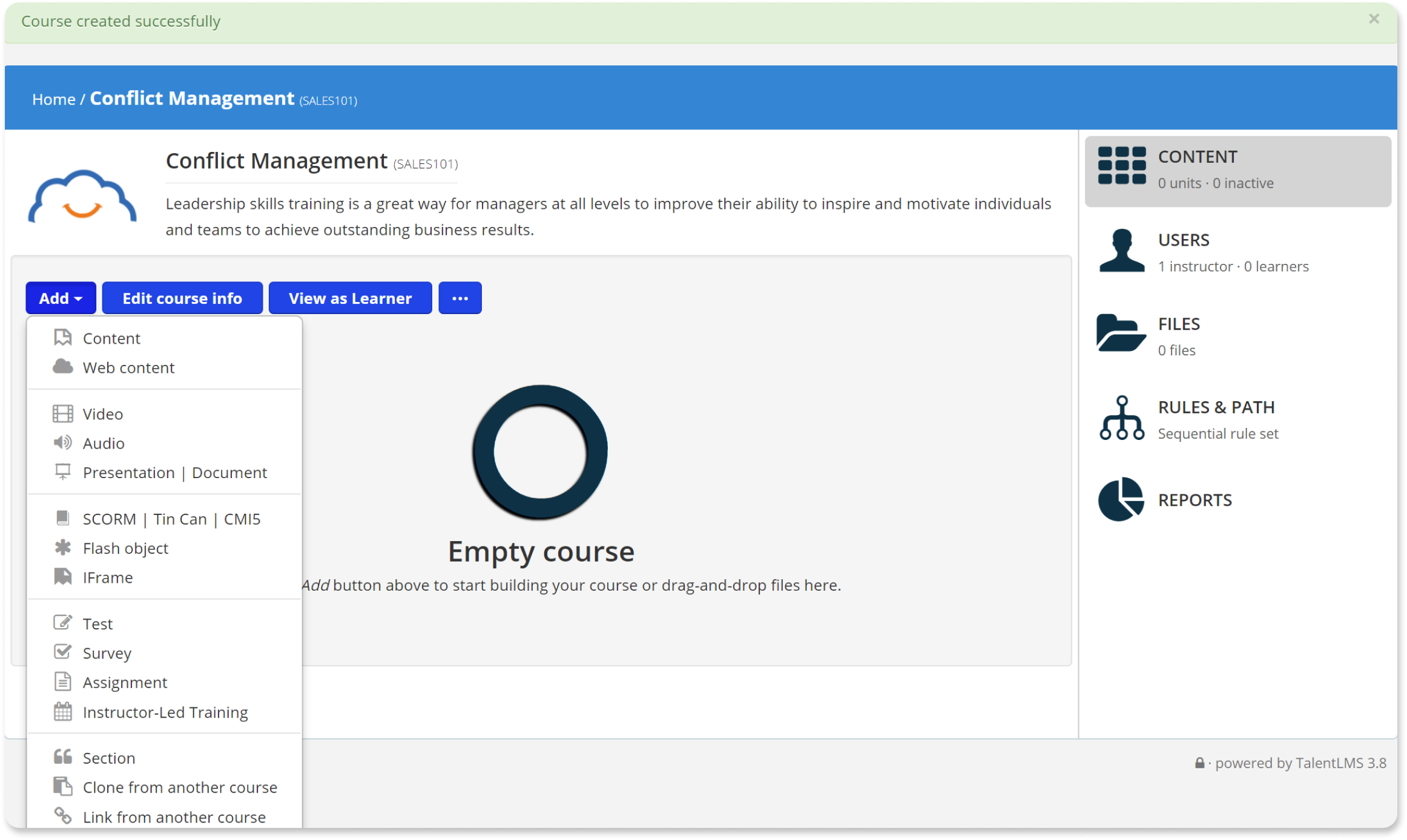 Add Course Content - TalentLMS