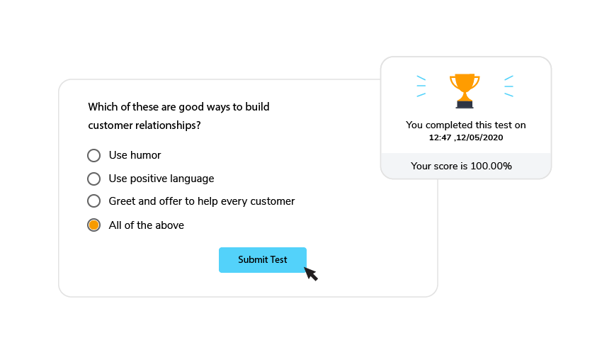 Example of quiz in eLearning content