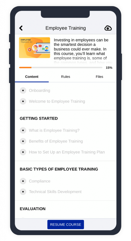 TalentLMS mobile app: Example of a course