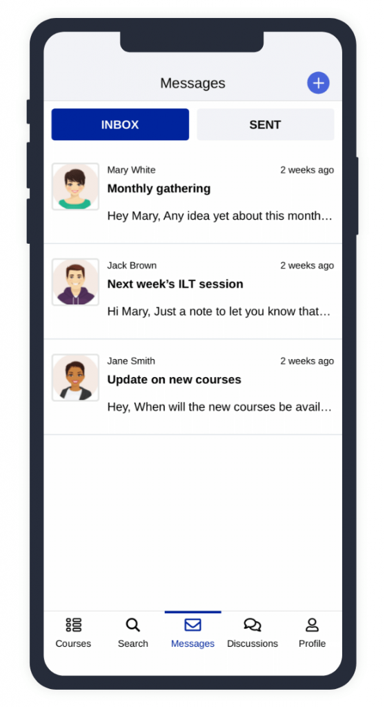 Example of messages on TalentLMS mobile app