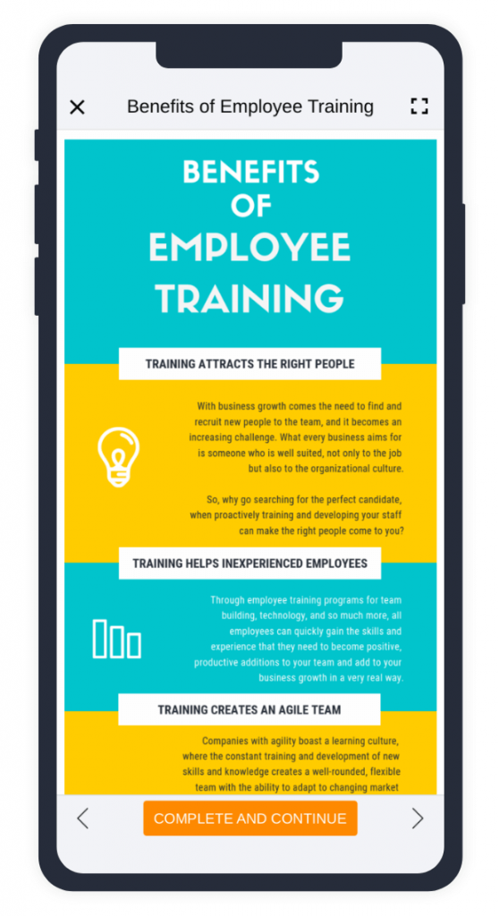 Example of PDF file on TalentLMS mobile app