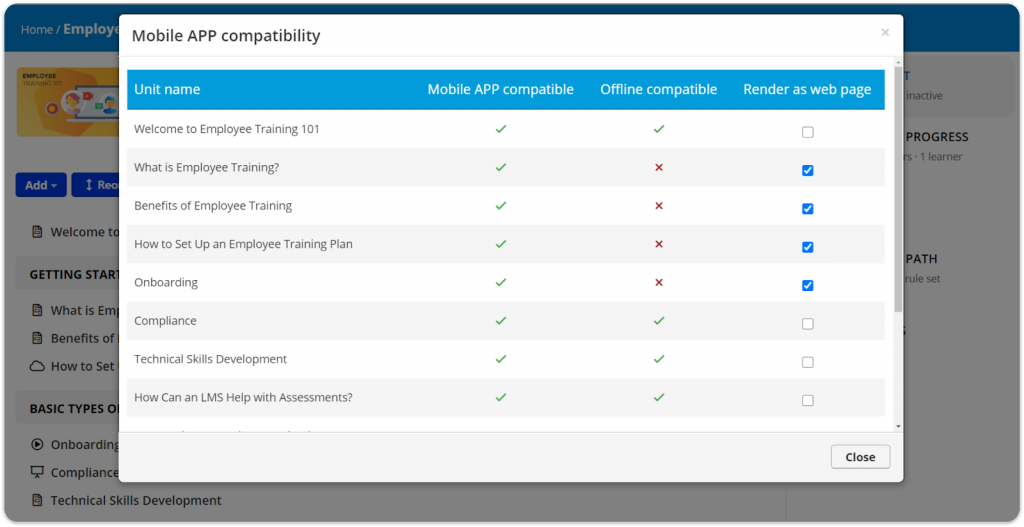TalentLMS mobile app compatibility and offline availability example