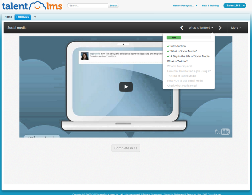 Salesforce and TalentLMS integration screenshot