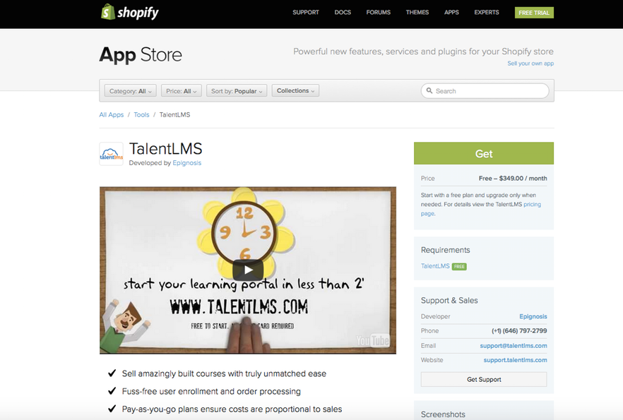 shopify integration talentlms app