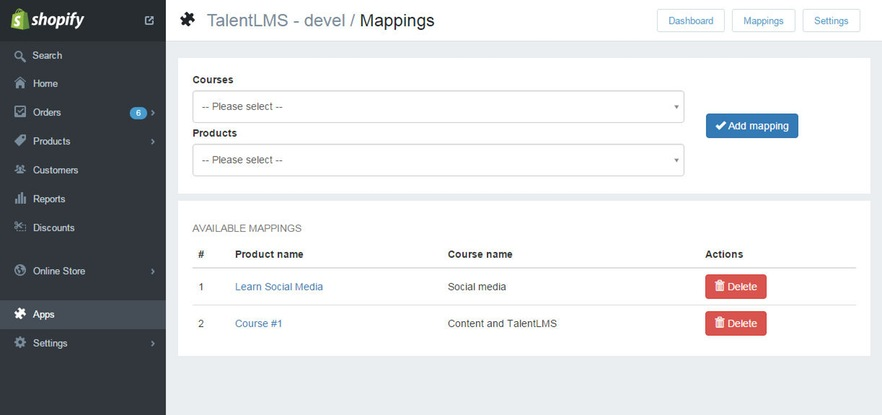 talentlms shopify integration mappings