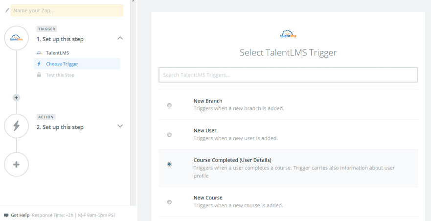 select-trigger-talentlms-slack-integration