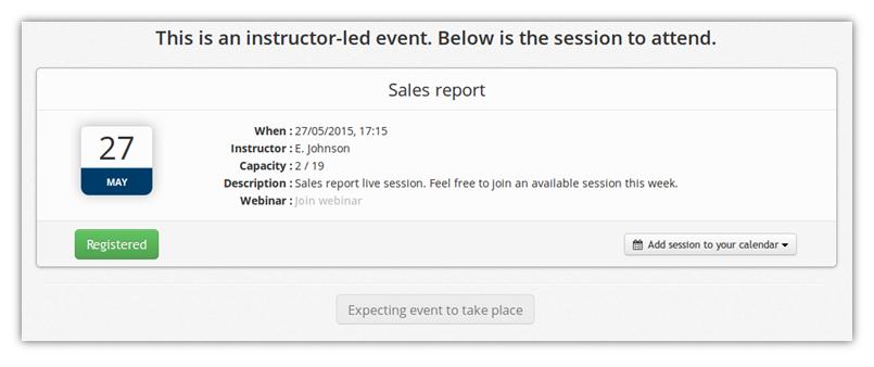 ILT session notification - TalentLMS